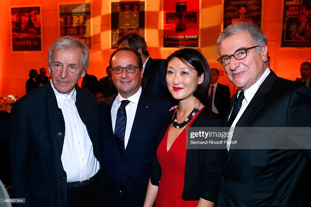 Director Constantin <a gi-track='captionPersonalityLinkClicked' href=/galleries/search?phrase=Costa-Gavras&family=editorial&specificpeople=213531 ng-click='$event.stopPropagation()'>Costa-Gavras</a>, French President Francois Hollande, French minister of Culture and Communication <a gi-track='captionPersonalityLinkClicked' href=/galleries/search?phrase=Fleur+Pellerin&family=editorial&specificpeople=8784076 ng-click='$event.stopPropagation()'>Fleur Pellerin</a> and Director of the 'French Cinematheque' Serge Toubiana attend the Tribute to Director Martin Scorsese at Cinematheque Francaise on October 13, 2015 in Paris, France.