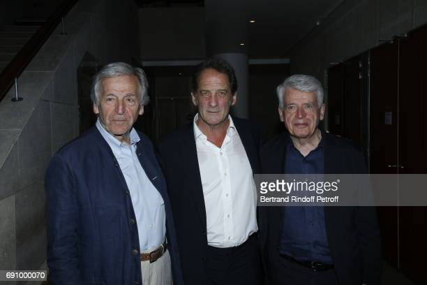 Director Costa Gavras Actor Vincent Lindon and Director Alain Cavalier attend 'Vincent Lindon Retrospective' at la Cinematheque on May 31 2017 in...