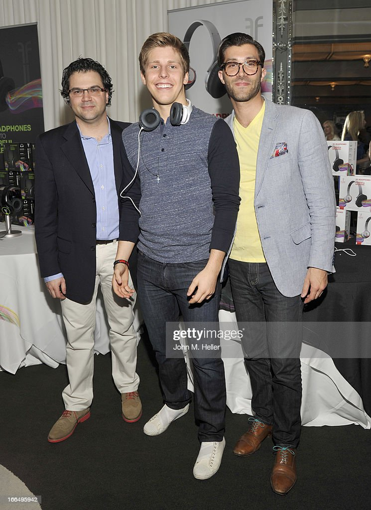Director Creative & Brand Strategy Flips Audio Luigi Tartara, actor Thomas Kasp and Director Of Creative & Digital Strategy Flips Audio Nunzio Esposito attend the Flips Audio MTV Awards Secret Room gifting suite at the SLS Hotel on April 12, 2013 in Beverly Hills, California.