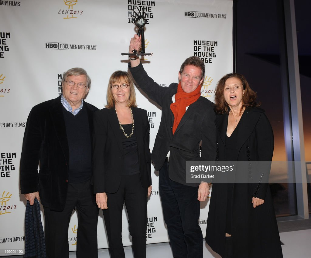 Director <a gi-track='captionPersonalityLinkClicked' href=/galleries/search?phrase=D.A.+Pennebaker&family=editorial&specificpeople=660590 ng-click='$event.stopPropagation()'>D.A. Pennebaker</a>, <a gi-track='captionPersonalityLinkClicked' href=/galleries/search?phrase=Chris+Hegedus&family=editorial&specificpeople=660595 ng-click='$event.stopPropagation()'>Chris Hegedus</a>, Frazer Pennebaker and Wendy Ettinger attend 6th Annual Cinema Eye Honors For Nonfiction Filmmaking at Museum of the Moving Image on January 9, 2013 in New York City.