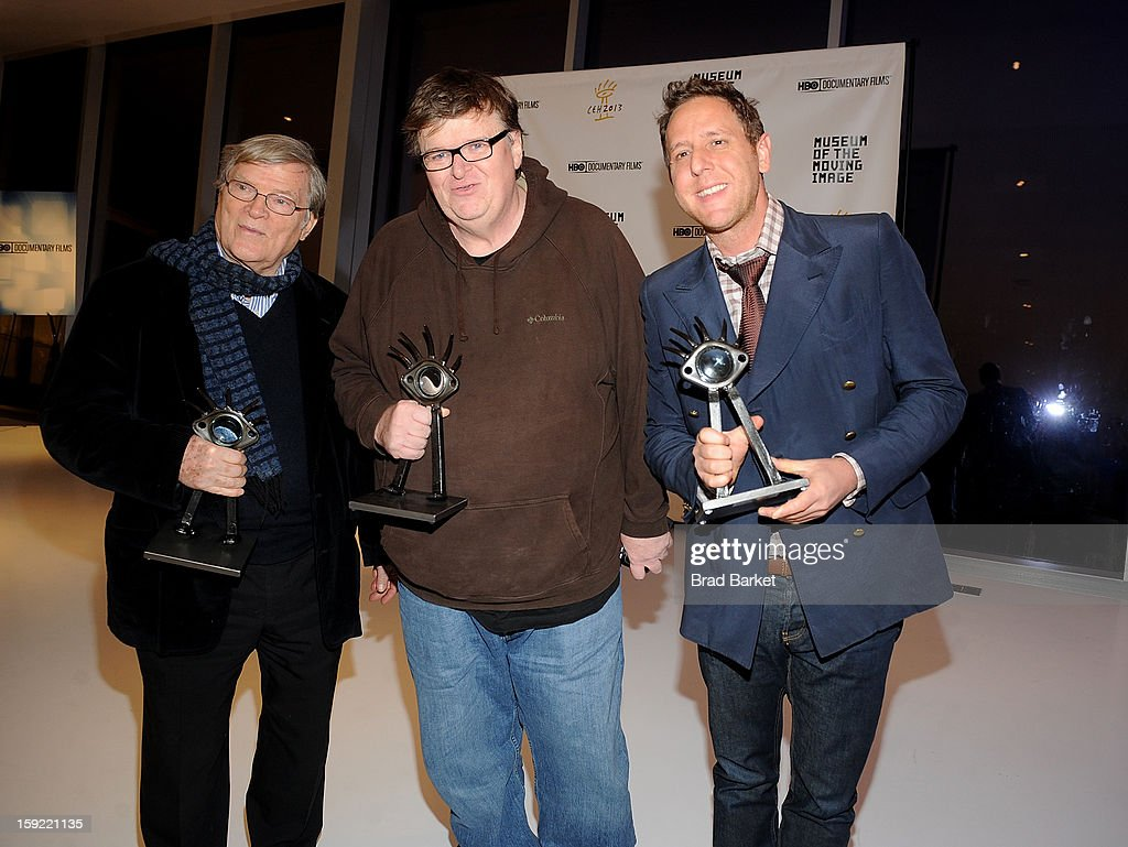 Director <a gi-track='captionPersonalityLinkClicked' href=/galleries/search?phrase=D.A.+Pennebaker&family=editorial&specificpeople=660590 ng-click='$event.stopPropagation()'>D.A. Pennebaker</a>; Michael Moore and <a gi-track='captionPersonalityLinkClicked' href=/galleries/search?phrase=Lee+Hirsch&family=editorial&specificpeople=3355686 ng-click='$event.stopPropagation()'>Lee Hirsch</a> attend 6th Annual Cinema Eye Honors For Nonfiction Filmmaking at Museum of the Moving Image on January 9, 2013 in New York City.
