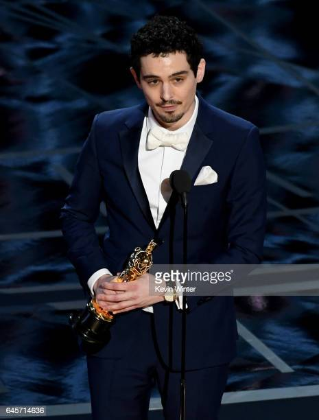 Director Damien Chazelle accepts Best Director for 'La La Land' onstage during the 89th Annual Academy Awards at Hollywood Highland Center on...