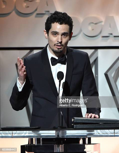 Director Damien Chazelle accepts the Award for Outstanding Directorial Achievement in Feature Film for 2016 for 'La La Land' onstage during the 69th...