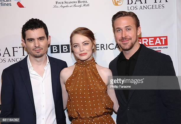 Director Damien Chazelle actors Emma Stone and Ryan Gosling attend The BAFTA Tea Party at Four Seasons Hotel Los Angeles at Beverly Hills on January...