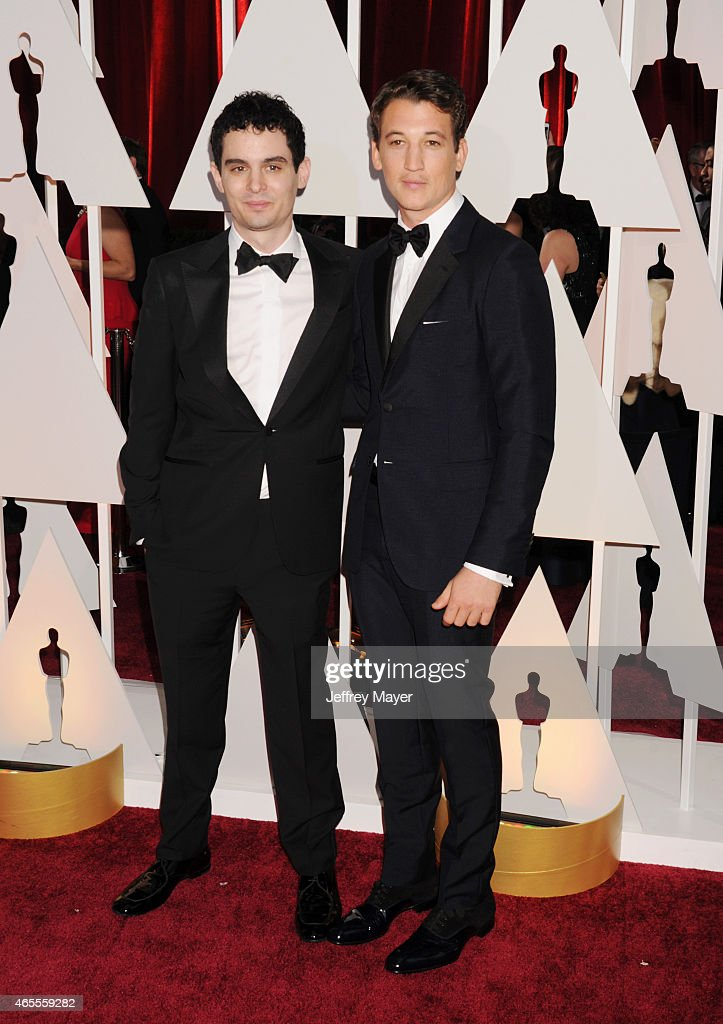 Director Damien Chazelle (L) and actor Miles Teller arrive at the 87th Annual Academy Awards at Hollywood & Highland Center on February 22, 2015 in Hollywood, California.