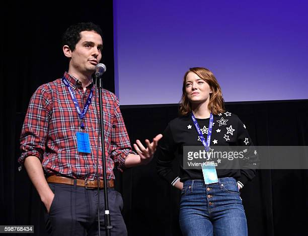 Director Damien Chazelle and actress Emma Stone introduce a screening of La La Land at the Telluride Film Festival 2016 on September 2 2016 in...