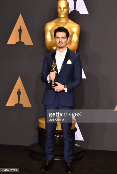 Director Damien Chazelle winner of the Best Director award for 'La La Land' poses in the press room during the 89th Annual Academy Awards at...