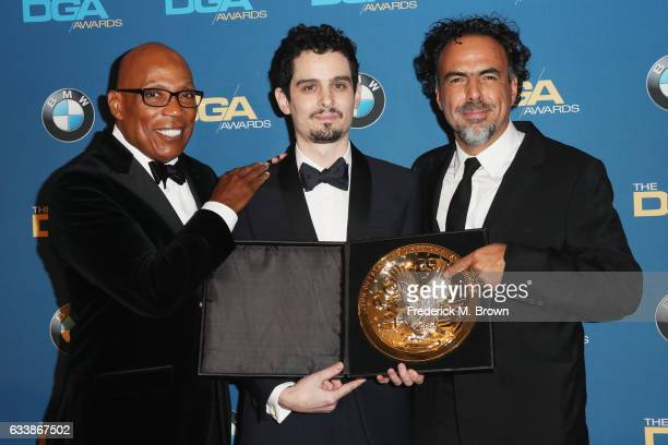 HILLS CA FEBRUARY Director Damien Chazelle winner of the Outstanding Directorial Achievement in Feature Film for 2016 award for 'La La Land' poses in...