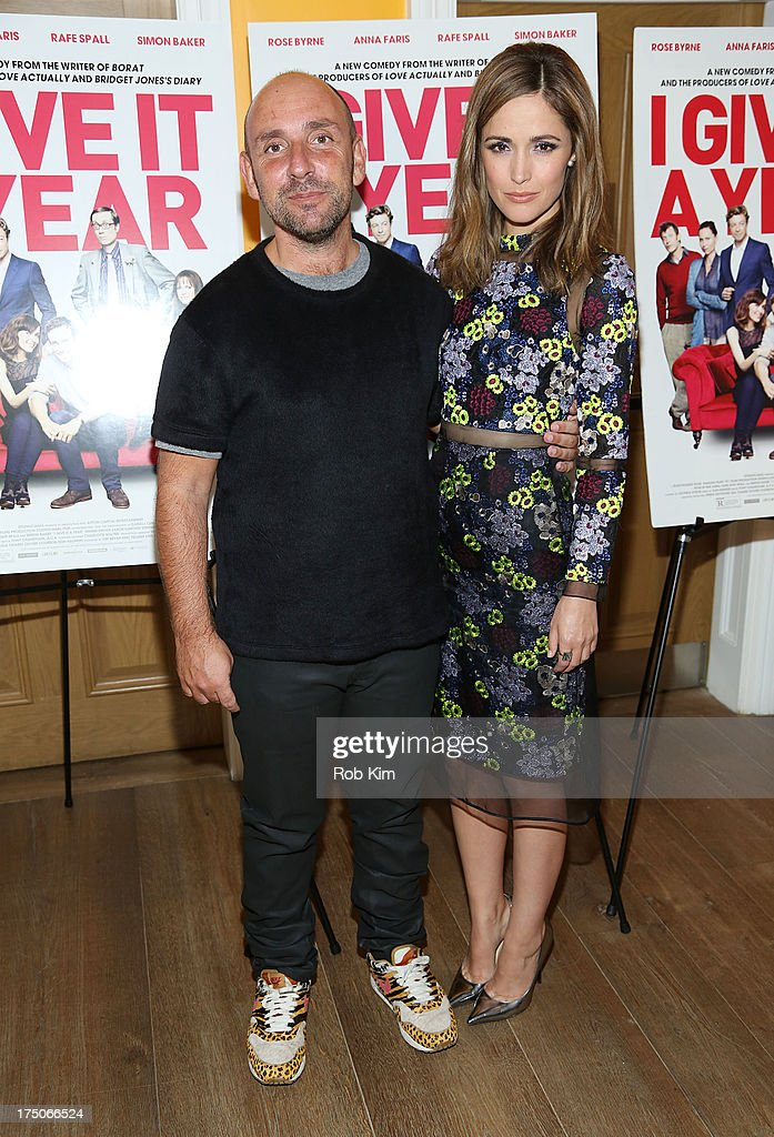 Director Dan Mazer and actress <a gi-track='captionPersonalityLinkClicked' href=/galleries/search?phrase=Rose+Byrne&family=editorial&specificpeople=206670 ng-click='$event.stopPropagation()'>Rose Byrne</a> arrive at 'I Give It A Year' Special New York Screening at 79 Crosby Street on July 30, 2013 in New York City.