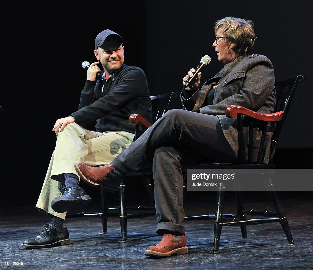 Director Dan Scanlon and Producer Kori Rae on stage during 'A Tribute to Pixar' at Hopkins Center Spaulding Auditorium on October 13, 2013 in Hanover, New Hampshire.