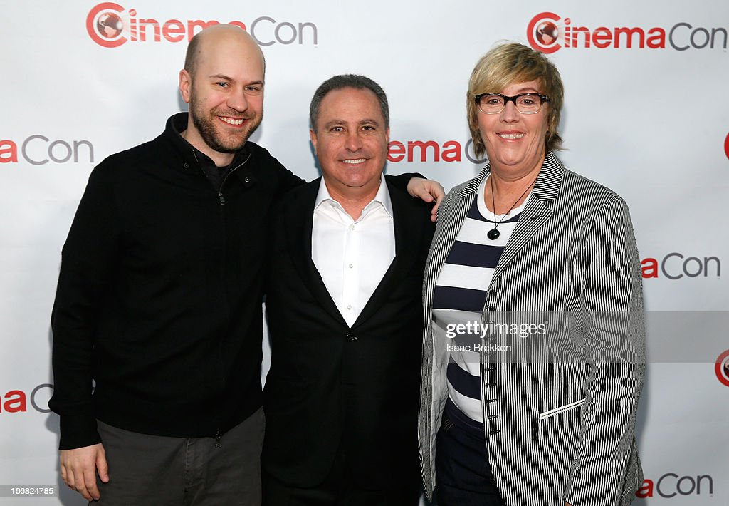 Director Dan Scanlon, President, The Walt Disney Studios Alan Bergman and producer Kori Rae arrive at The Walt Disney Studios Motion Pictures presentation to promote the upcoming animated film, 'Monsters University' at Caesars Palace during CinemaCon, the official convention of the National Association of Theatre Owners on April 17, 2013 in Las Vegas, Nevada.