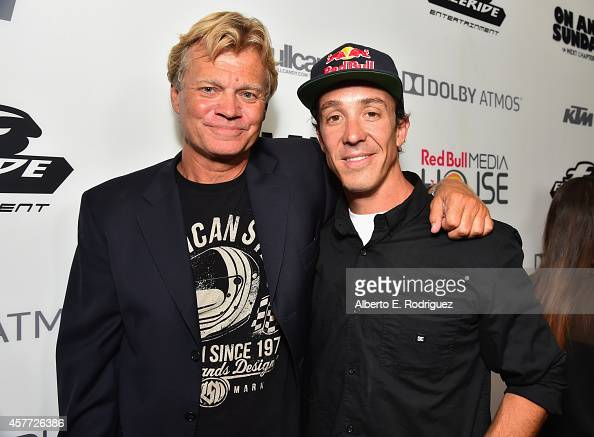 Director Dana Brown and motorbiker Robbie Madison attend the Premiere Of Red Bull Media House's 'On Any Sunday The Next Chapter' at Dolby Theatre on...