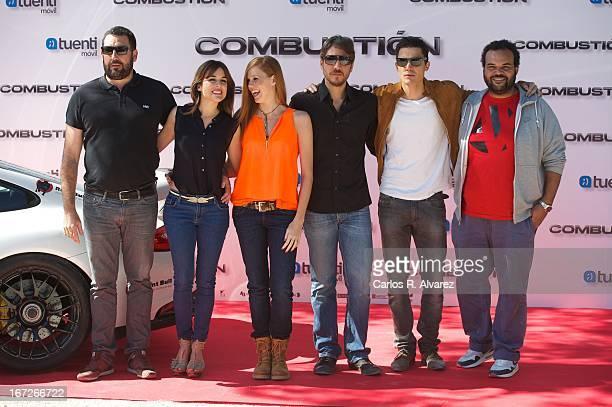 Director Daniel Calparsoro Adriana Ugarte Maria Castro Alberto Ammann Alex Gonzalez and Carlos Jean attend the 'Combustion' photocall on April 23...