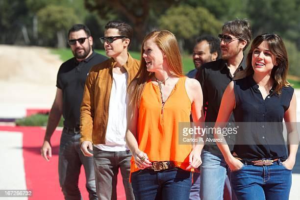 Director Daniel Calparsoro Alex Gonzalez Maria Castro Alberto Ammann Carlos Jean and Adriana Ugarte attend the 'Combustion' photocall on April 23...