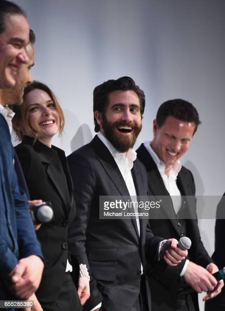 Director Daniel Espinosa actors Ryan Reynolds Rebecca Ferguson and Jake Gyllenhaal and producer David Ellison attend the 'Life' premiere during 2017...