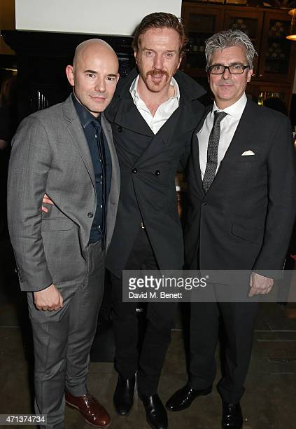 Director Daniel Evans cast member Damian Lewis and producer Matthew Byam Shaw attend an after party following the press night performance of...