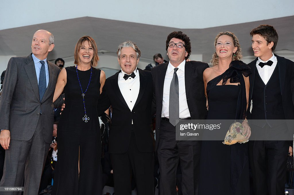Director Daniele Cipri (third right), actor Fabrizio Falco (R) and guests attends the Award Ceremony during the 69th Venice Film Festival at the Palazzo del Cinema on September 8, 2012 in Venice, Italy.