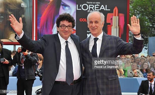 Director Daniele Cipri and actor Toni Servillo attend the 'E Stato Il Figlio' Premiere during The 69th Venice Film Festival at the Palazzo del Cinema...
