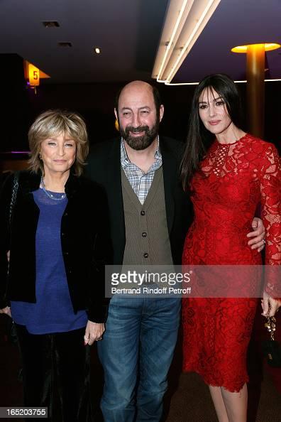 Director Daniele Thompson Actor Kad Merad and Actress Monica Bellucci attend 'Des gens qui s'embrassent' movie premiere at Cinema Gaumont Marignan on...