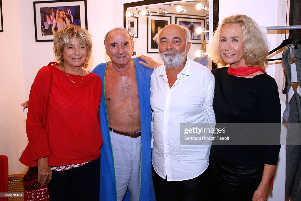 Director Daniele Thompson, Actors <a gi-track='captionPersonalityLinkClicked' href=/galleries/search?phrase=Claude+Brasseur&family=editorial&specificpeople=615483 ng-click='$event.stopPropagation()'>Claude Brasseur</a>, <a gi-track='captionPersonalityLinkClicked' href=/galleries/search?phrase=Gerard+Jugnot&family=editorial&specificpeople=214717 ng-click='$event.stopPropagation()'>Gerard Jugnot</a> and <a gi-track='captionPersonalityLinkClicked' href=/galleries/search?phrase=Brigitte+Fossey&family=editorial&specificpeople=587171 ng-click='$event.stopPropagation()'>Brigitte Fossey</a> pose Backstage after the 'La colere du Tigre' Theater play during the 31th Ramatuelle Festival : Day 6 on August 6, 2015 in Ramatuelle, France.