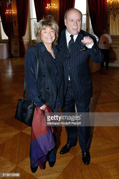 Director Daniele Thompson and Marc Lambron attend writer Marc Lambron receives 'L'Epee d'Academicien' of 'Academie Francaise' on April 6 2016 in...