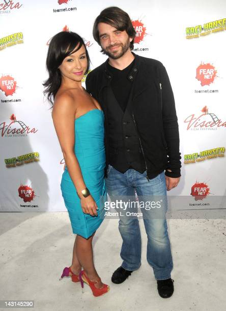 Director Danielle Harris and actor Erik Preston arrive for the cast/crew Screening Of 'Among Friends' held at the Jon Lovitz Comedy Club on April 17...