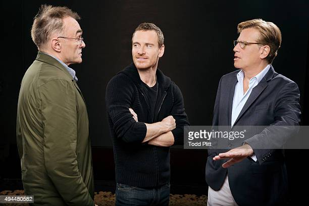 Director Danny Boyle actor Michael Fassbender and screenwriter Aaron Sorkin are photographed for USA Today on October 4 2015 in New York City...