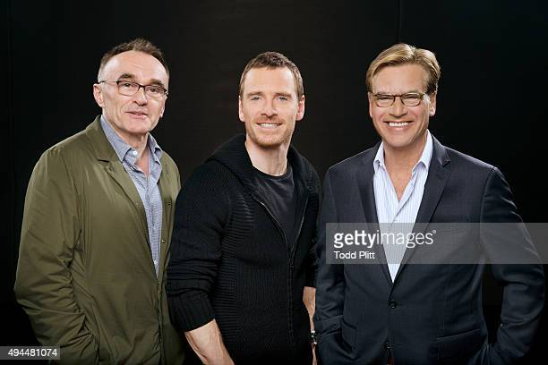 Director Danny Boyle actor Michael Fassbender and screenwriter Aaron Sorkin are photographed for USA Today on October 4 2015 in New York City