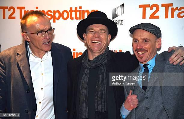 Director Danny Boyle actors Ewan McGregor and Ewen Bremner attend the 'T2 Trainspotting' world premiere on January 22 2017 in Edinburgh United Kingdom