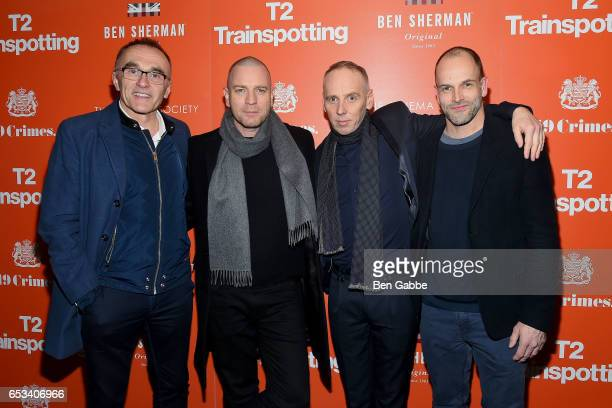 Director Danny Boyle Ewan McGregor Ewen Bremner and Jonny Lee Miller attend a TriStar and Cinema Society screening of 'T2 Trainspotting' at Landmark...