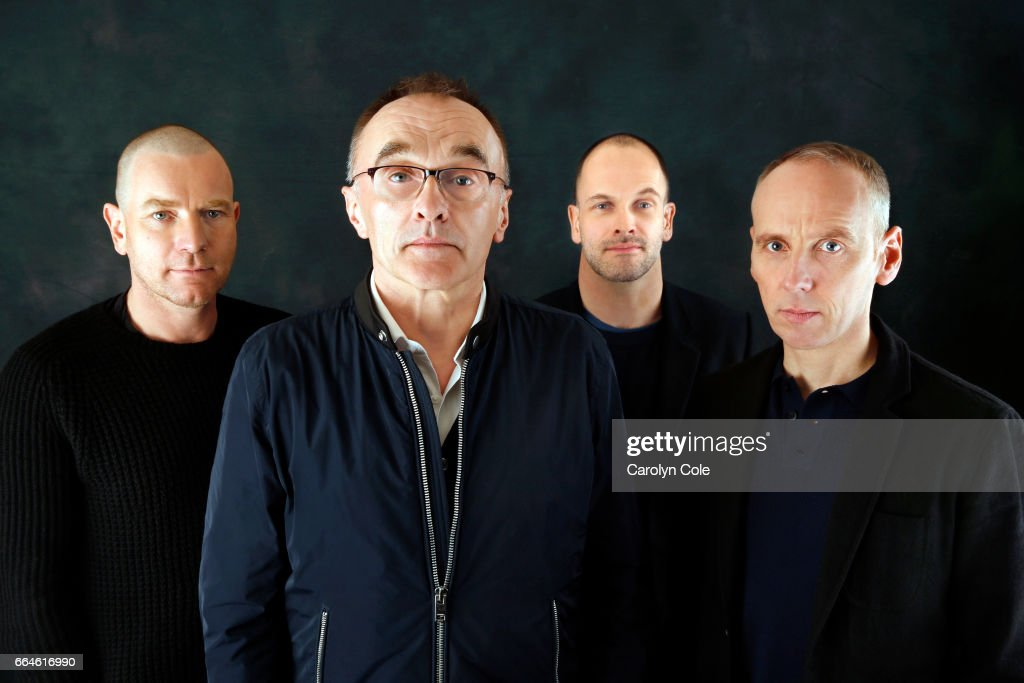 Director Danny Boyle, front, along with Ewan McGregor, left, Ewen Bremner, right, and Jonny Lee Miller, back, of Trainspotting as they reunite for a sequel 20 years later are photographed for Los Angeles Times on March 14, 2017 in New York City. PUBLISHED IMAGE.