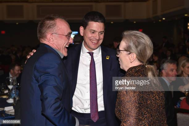 Director Danny Boyle IRC President CEO David Miliband and Actress Meryl Streep attend The 2017 Rescue Dinner hosted by IRC at New York Hilton Midtown...