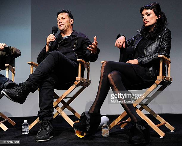 Director Danny Mulheron and actress Kate Elliott attend Meet the Filmmaker 'Fresh Meat' during the 2013 Tribeca Film Festival at the Apple Store Soho...