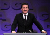 """Director Darren Aronofsky accepts the Feature Film Nomination Plaque for """"Black Swan"""" onstage at the 63rd Annual Directors Guild Of America Awards..."""