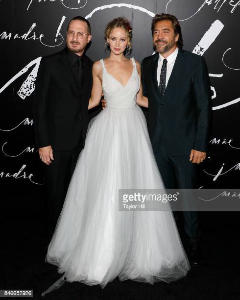 Director Darren Aronofsky actress Jennifer Lawrence and actor Javier Bardem attend the premiere of 'mother' at Radio City Music Hall on September 13...