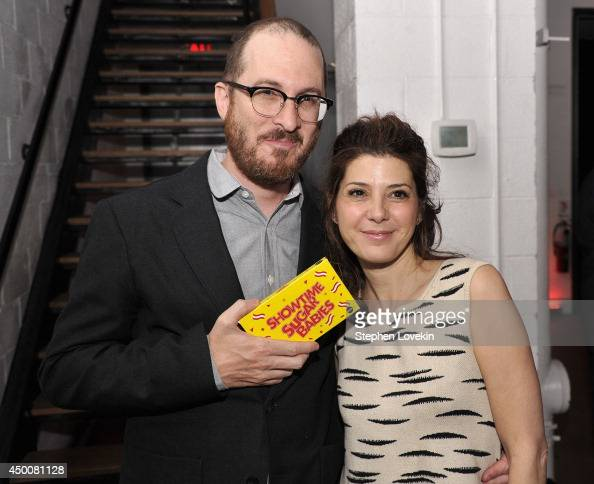 Director Darren Aronofsky and actress Marisa Tomei the Sundance Institute New York Benefit 2014 at Stage 37 on June 4 2014 in New York City