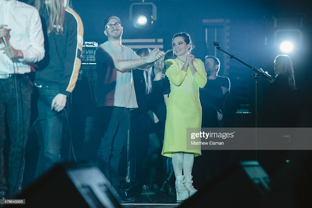 Director Darren Aronofsky (L) and Bjork attend the 'Stopp - Let's Protect the Park' nature benefit concert at Harpa Concert Hall on March 18, 2014 in Reykjavik, Iceland.