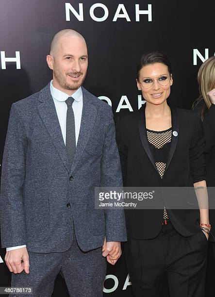 Director Darren Aronofsky and Producer BrandiAnn Milbradt attend the 'Noah' New York premiere at Ziegfeld Theatre on March 26 2014 in New York City