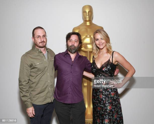 Director Darren Aronofsky producer Ari Handel and actress Jennifer Lawrence attend an official Academy screening of MOTHER hosted by The Academy of...