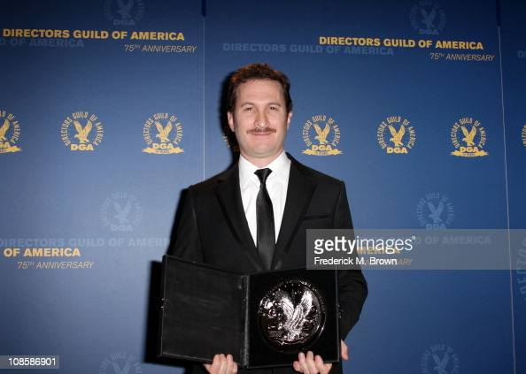 "Director Darren Aronofsky recipient of the Feature Film Nomination Plaque for ""Black Swan"" poses in the press room at the 63rd Annual Directors Guild..."