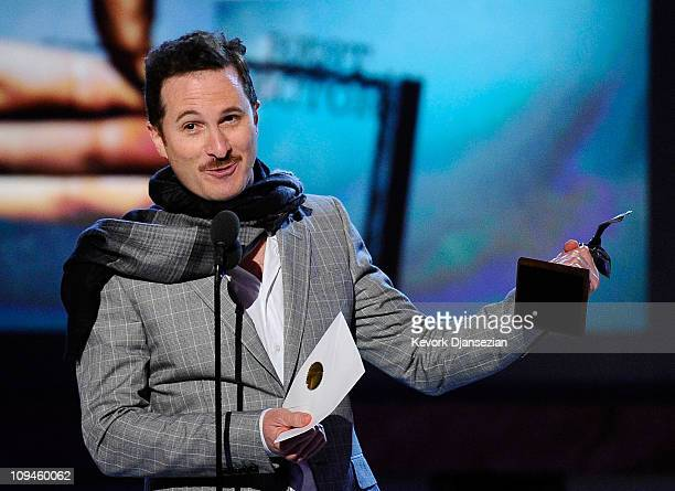 Director Darren Aronofsky winner of Best Director for 'Black Swan' accepts award onstage during the 2011 Film Independent Spirit Awards at Santa...