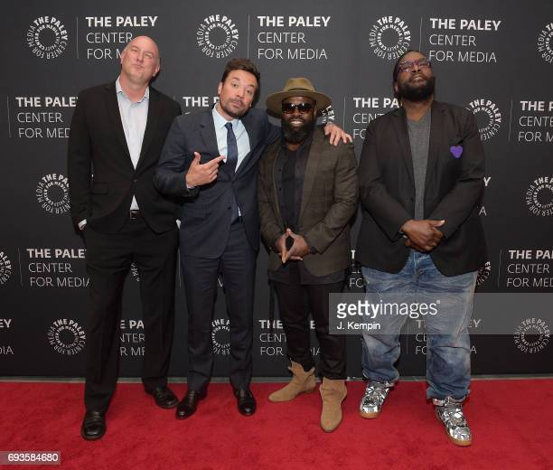 Director Dave Diomedi Jimmy Fallon Tariq 'Black Thought' Trotter and Ahmir 'Questlove' Thompson attend The Paley Center For Media Presents An Evening...
