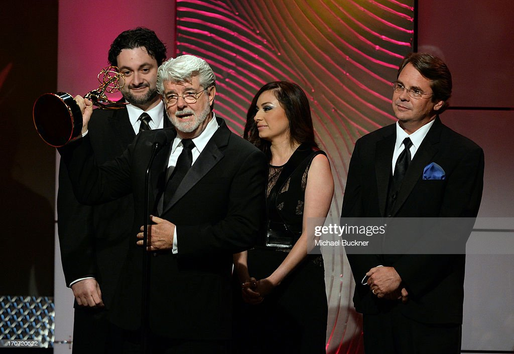 Director Dave Filoni and producers <a gi-track='captionPersonalityLinkClicked' href=/galleries/search?phrase=George+Lucas&family=editorial&specificpeople=202500 ng-click='$event.stopPropagation()'>George Lucas</a>, Athena Portillo and Cary Silver accept the Outstanding Special Class Animated Program award for 'Star Wars: The Clone Wars' onstage during the 40th Annual Daytime Emmy Awards at the Beverly Hilton Hotel on June 16, 2013 in Beverly Hills, California. 23774_001_2334.JPG