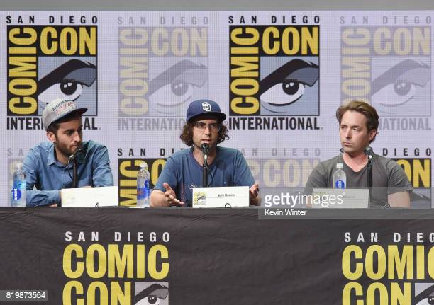 Director Dave McCary screenwriter Kyle Mooney and actor Beck Bennett speak onstage at the 'Brigsby Bear' cast and filmmakers panel during ComicCon...