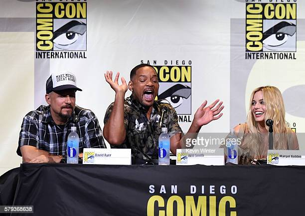 Director David Ayer actors Will Smith and Margot Robbie attend the Warner Bros Presentation during ComicCon International 2016 at San Diego...