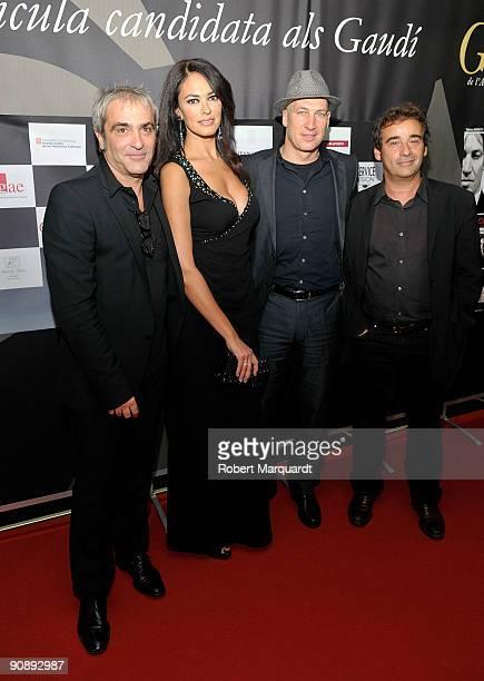 Director David Carreras actors Maria Grazia Cucinotta and Tobias Moretti and Eduard Fernando attend the premiere of Flores Negras at Cine Comedia on...