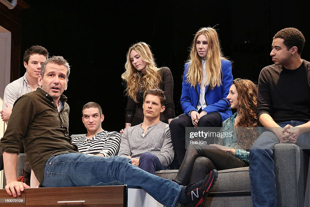 Director David Cromer (front) with cast (L-R top row) David Hull, Aleque Reid, Zosia Mamet, (L-R bottom row) Evan Jonigkeit, Matt Lauria, Lauren Culpepper, and Kobi Libii attend the 'Really Really' cast photo call at Lucille Lortel Theatre on January 25, 2013 in New York City.
