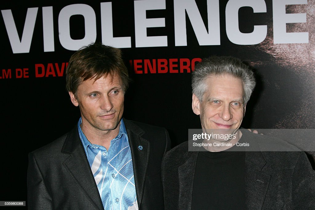 Director David Cronenberg and actor Viggo Mortensen at the photocall of 'A History of Violence' in Paris.
