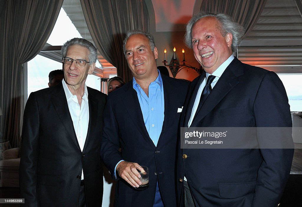 Director David Cronenberg, Charles Finch and Editor of Vanity Fair Graydon Carter attends the exclusive Filmmakers Dinner during the Cannes International Film Festival hosted by Swiss watch manufacturer IWC Schaffhausen in partnership with Finch's Quarterly Review at the famous Hotel du Cap-Eden-Roc on May 21, 2012 in Cap d'Antibes, France.