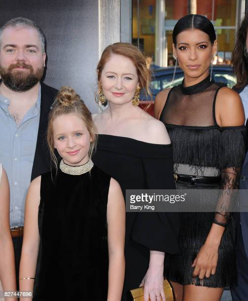 Director David F Sandberg actresses LuLu Wilson Miranda Otto and Stephanie Sigman attend the premiere of New Line Cinema's' 'Annabelle Creation' at...